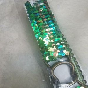 NEW Women's Stretchy Irredescent Sequin Belt